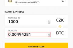 Bitstock - zadání částky