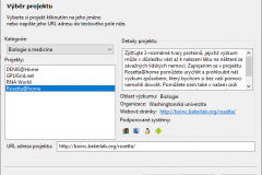 Rosetta@home - Výběr projektu