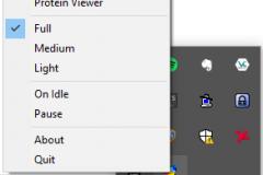 Folding@home lze ovládat i pomocí tray ikony, která nabízí více možností, než webové rozhraní.