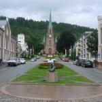 Drammen - hlavní náměstí s kostelem