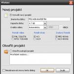 DVDStyler - vytvoření projektu.