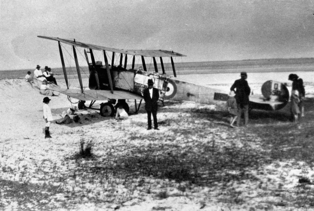 Aeroplane on Main Beach, Southport, 1920s